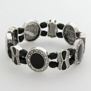 Croft and Barrow Silver Tone Bead Textured Stretch Bracelet