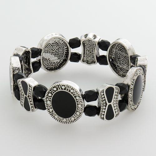 Croft & Barrow® Silver Tone Bead Textured Stretch Bracelet