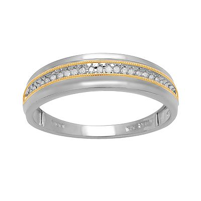 18k Gold Over Silver and Sterling Silver 1/10-ct. T.W. Diamond Band Ring