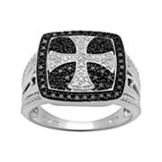 Sterling Silver 1/2-ct. T.W. Diamond Cross Ring - Men