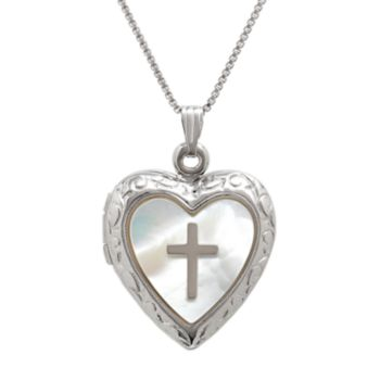 Sterling Silver Mother-of-Pearl Cross Heart Locket