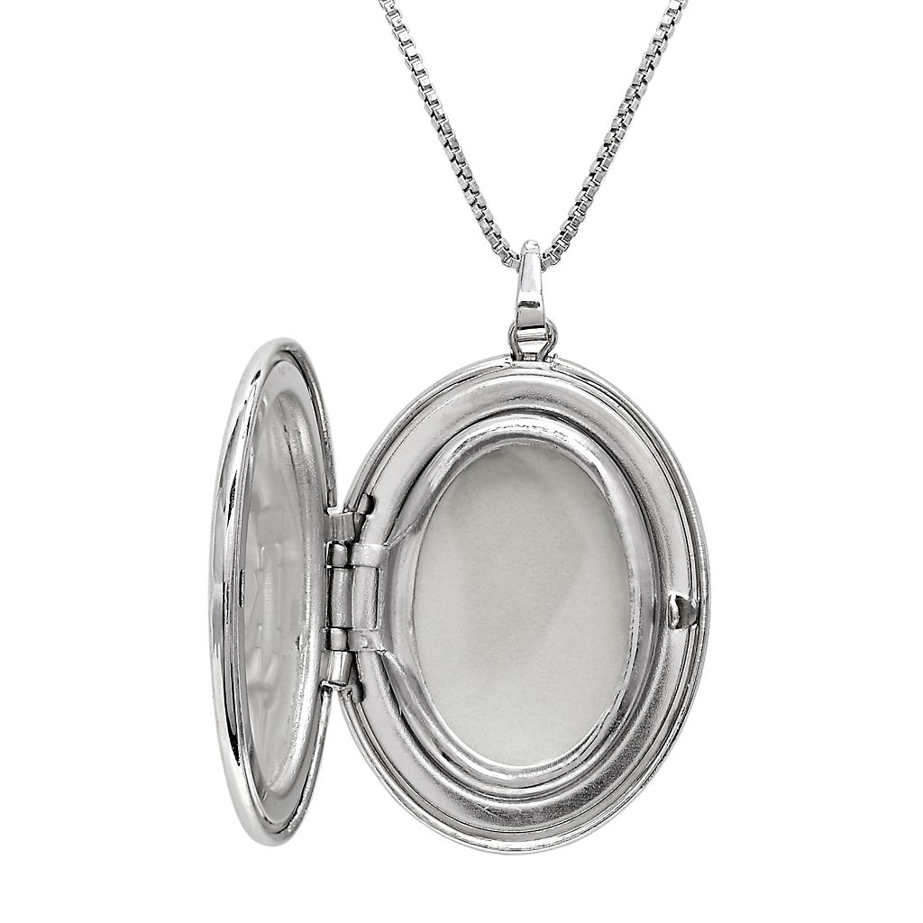 Sterling Silver Diamond Accent Flower Oval Locket