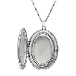 Sterling Silver Diamond Accent Flower Oval Locket
