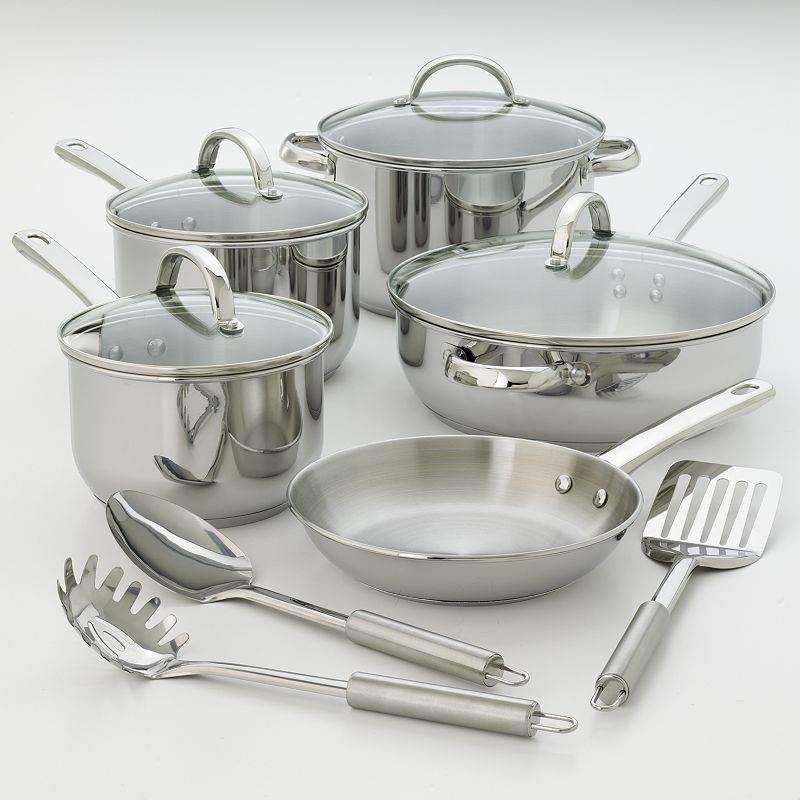 Kitchen la carte 12-pc. Stainless Steel Cookware Set (Multicolor)