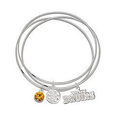LogoArt Boston Bruins Silver Tone Bangle Bracelet Set