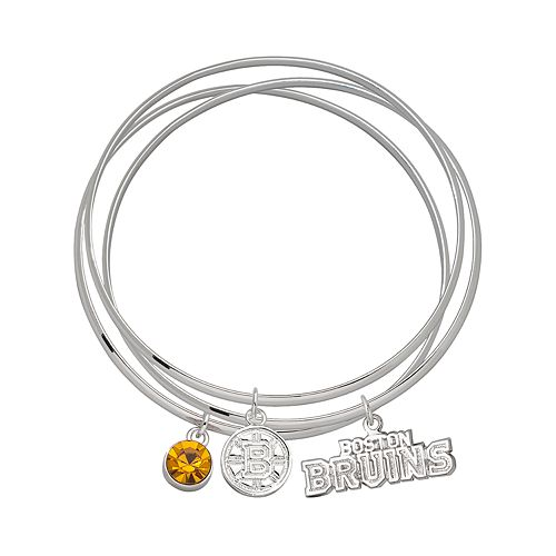 LogoArt Boston Bruins Silver Tone Bangle Bracelet Set