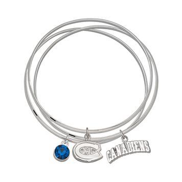 LogoArt Montreal Canadiens Silver Tone Bangle Bracelet Set