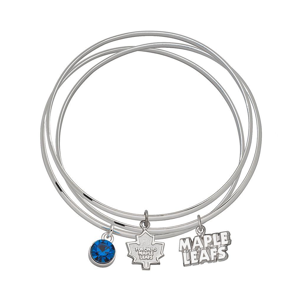 LogoArt Toronto Maple Leafs Silver Tone Bangle Bracelet Set