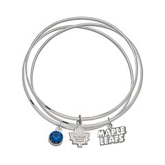 LogoArt Toronto Maple Leafs Silver Tone Bangle Bracelet Set