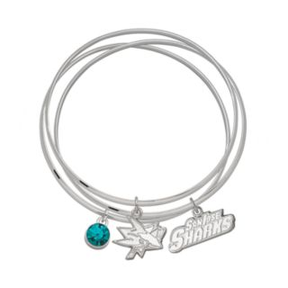 LogoArt San Jose Sharks Silver Tone Bangle Bracelet Set