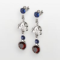 LogoArt Colorado Avalanche Silver Tone Crystal Logo Linear Drop Earrings
