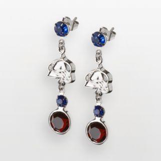 LogoArt Colorado Avalanche Silver Tone Crystal Logo Linear Drop Earrings