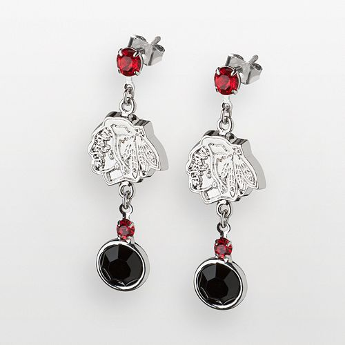 LogoArt Chicago Blackhawks Silver Tone Crystal Logo Linear Drop Earrings