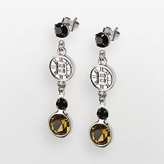 LogoArt Boston Bruins Silver Tone Crystal Logo Linear Drop Earrings