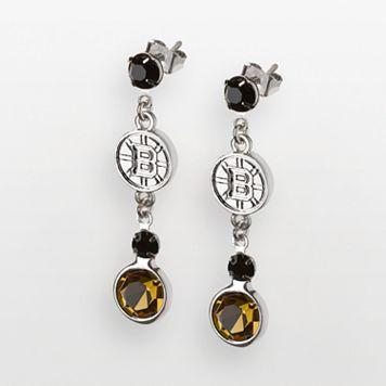 LogoArt Boston Bruins Silver Tone Crystal Logo Linear Drop Earrings