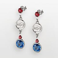 LogoArt Montreal Canadiens Silver Tone Crystal Logo Linear Drop Earrings