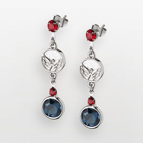 LogoArt Washington Capitals Silver Tone Crystal Logo Linear Drop Earrings