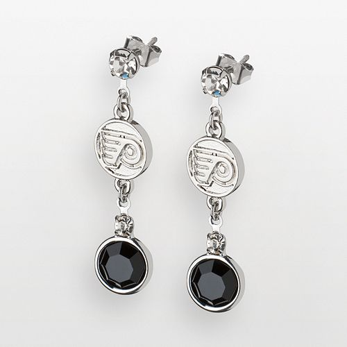LogoArt Philadelphia Flyers Silver Tone Crystal Logo Linear Drop Earrings