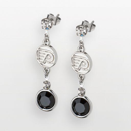LogoArt Philadelphia Flyers Silver Tone Crystal Logo Linear Drop Earrings