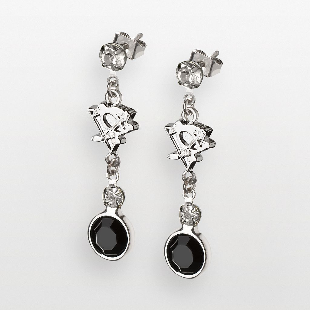 LogoArt Pittsburgh Penguins Silver Tone Crystal Logo Linear Drop Earrings