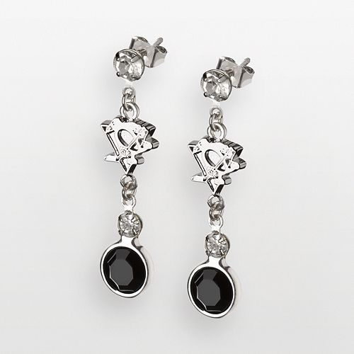 LogoArt Pittsburgh Penguins Silver Tone Crystal Logo Linear Drop Earrings