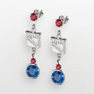 LogoArt New York Rangers Silver Tone Crystal Logo Linear Drop Earrings