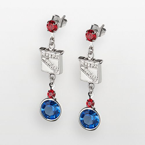 LogoArt New York Rangers Silver Tone Crystal Logo Linear Drop Earrings