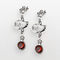 LogoArt Detroit Red Wings Silver Tone Crystal Logo Linear Drop Earrings