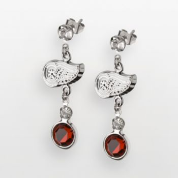 LogoArt Detroit Red Wings Silver Tone Crystal Logo Linear Drop Earrings