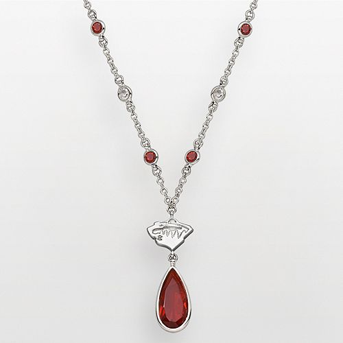 Minnesota Wild Silver Tone Crystal Logo Teardrop Y Necklace