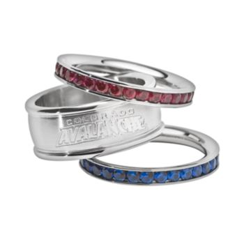Colorado Avalanche Stainless Steel Crystal Stack Ring Set