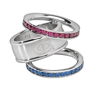 LogoArt Montreal Canadiens Stainless Steel Crystal Stack Ring Set