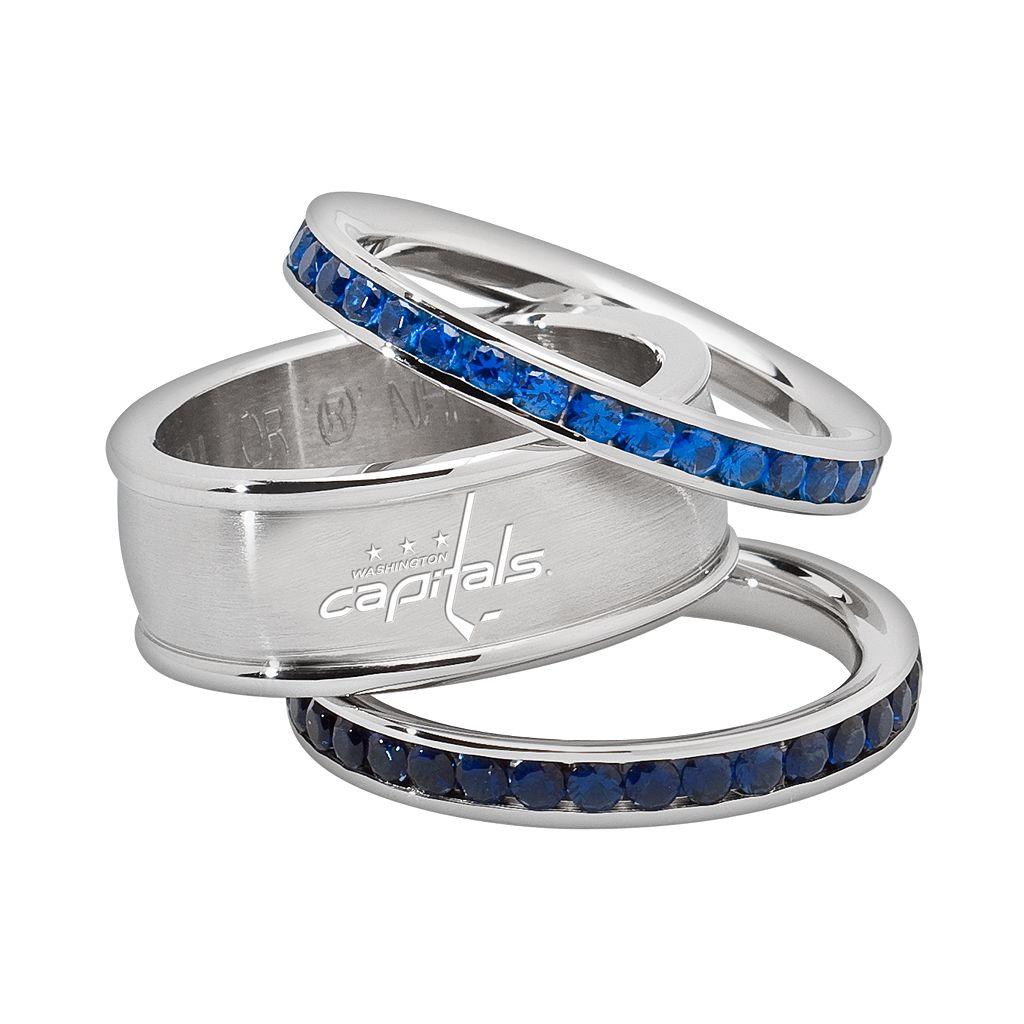 LogoArt Washington Capitals Stainless Steel Crystal Stack Ring Set