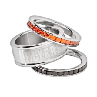 LogoArt Philadelphia Flyers Stainless Steel Crystal Stack Ring Set