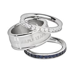 LogoArt Toronto Maple Leafs Stainless Steel Crystal Stack Ring Set