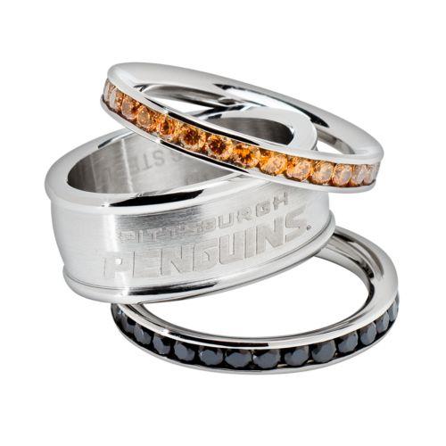 LogoArt Pittsburgh Penguins Stainless Steel Crystal Stack Ring Set