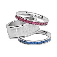 LogoArt New York Rangers Stainless Steel Crystal Stack Ring Set