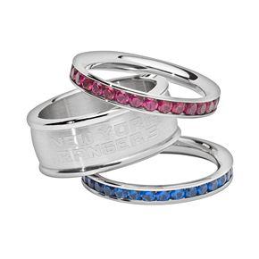 LogoArt New York Rangers Stainless Steel Crystal Stack Ring Set