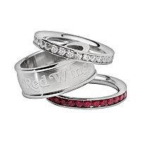 LogoArt Detroit Red Wings Stainless Steel Crystal Stack Ring Set