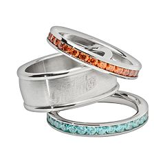 LogoArt San Jose Sharks Stainless Steel Crystal Stack Ring Set