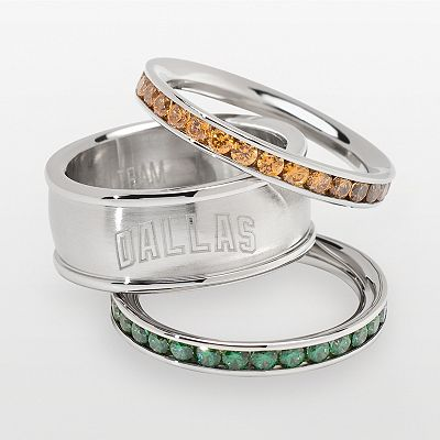 Dallas Stars Stainless Steel Crystal Stack Ring Set