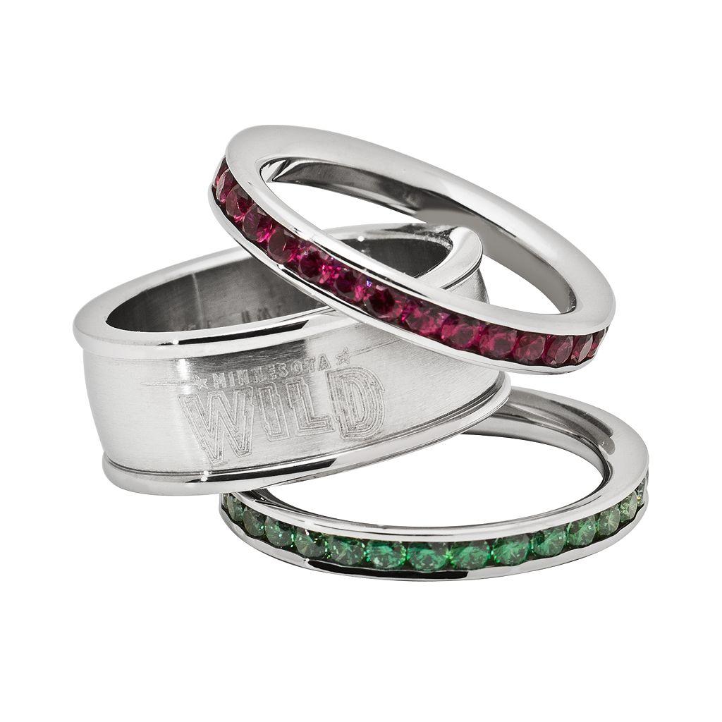 LogoArt Minnesota Wild Stainless Steel Crystal Stack Ring Set