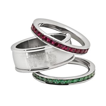 LogoArt Minnesota Wild Stainless Steel Crystal Stack Ring Set