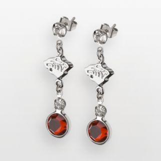 LogoArt Minnesota Wild Silver Tone Crystal Logo Linear Drop Earrings