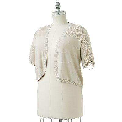 SONOMA life + style Pointelle Dolman Open-Front Shrug - Women's Plus