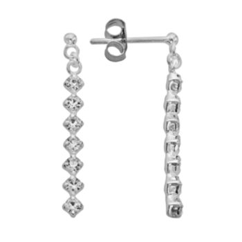 Sterling Silver Crystal Stick Drop Earrings