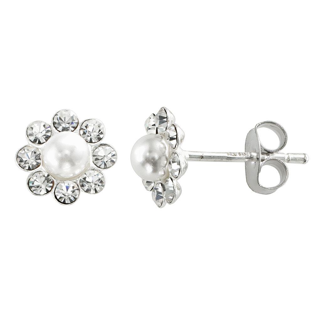 Sterling Silver Crystal & Cultured Pearl Flower Stud Earrings