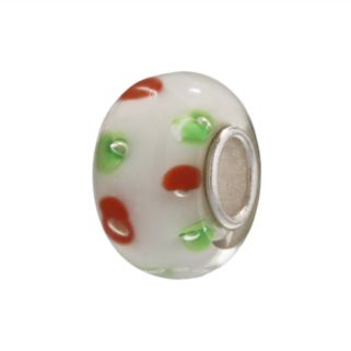 Individuality Beads Sterling Silver White Glass Red and Green Dots Bead