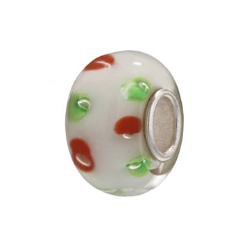 Individuality Beads Sterling Silver White Glass Red & Green Dots Bead
