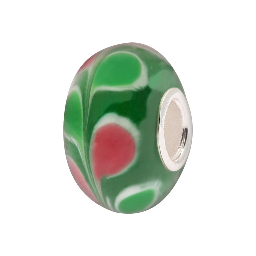 Individuality Beads Sterling Silver Green Leaf Glass Bead
